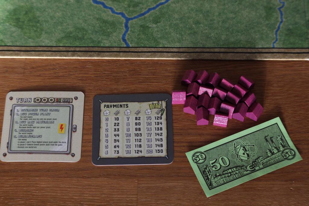 Näillä mennään: 50 elektroa paperi (!) -rahaa, kaksipuolinen apulappu ja kasa puisia tönöjä.