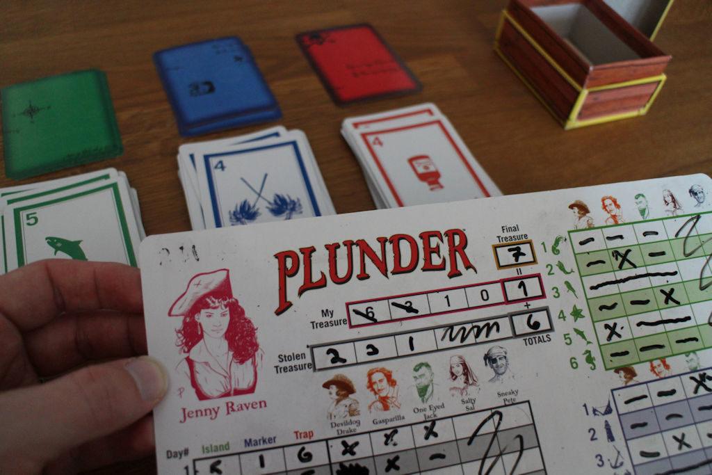 Loppupisteiden laskuun on muistiinpanoissa oma kohtansa: kunkin pelaajan aarteen arvo on 6, josta löytäjät vievät aina puolet jäljellä olevista. Tällä kertaa omasta aarteesta jäi murusia käteen ja kavereiden apajille ehti vielä kun siellä oli jotakin, joten loppusaldo 7 pistettä.