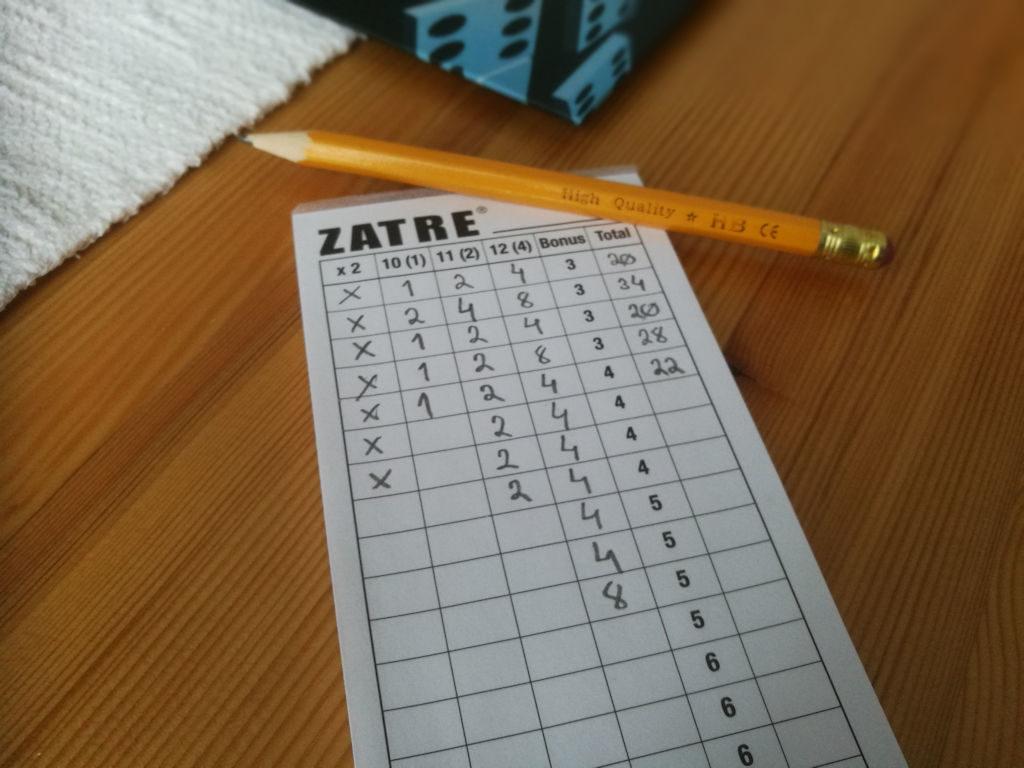 Pelaajan pisteenlaskupaperista näkee selkeästi onko onnistunut keräämään tasaisesti eri summia ja mihin pitäisi keskittyä seuraavaksi.