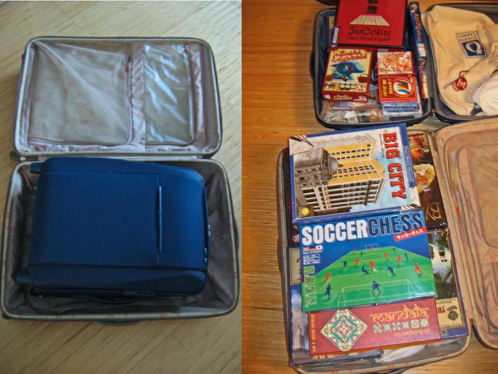 Vasemmalla: lähtiessä matkalaukku toisen sisään ja molemmat miltei tyhjinä. Oikealla: paluumatkalle laukut pakataan mahdollisimman täyteen.