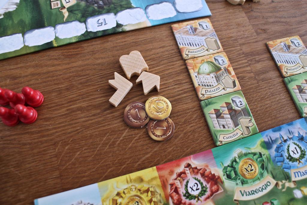 Viareggion pisteytys tuo pikkupotin rahaa ja rakennuksia vastaavat tavoitemerkit.