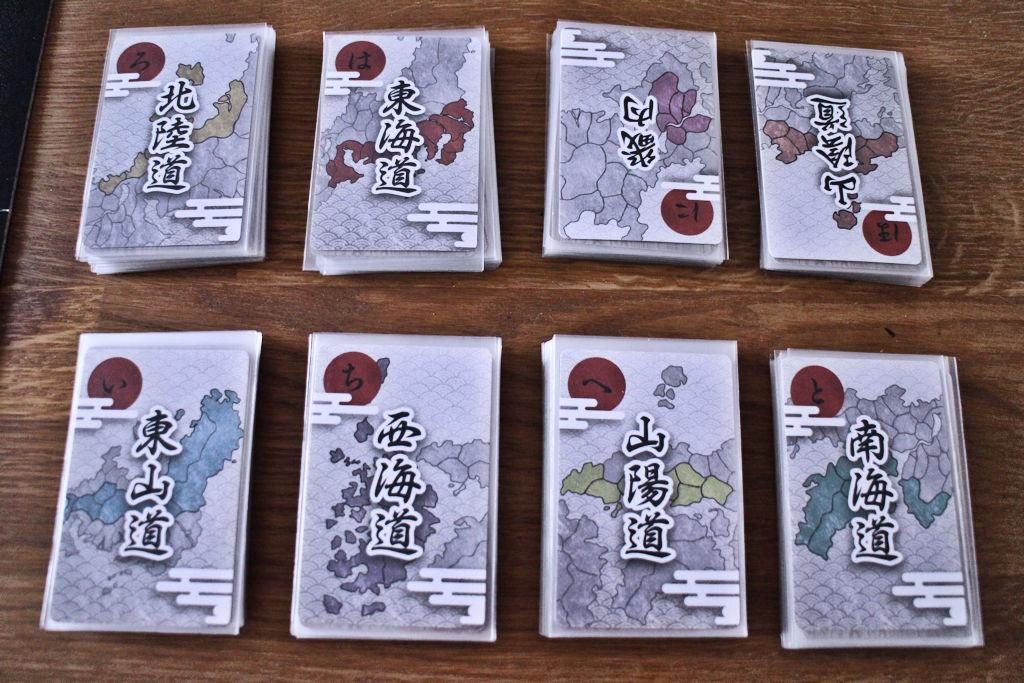 Kunkin antiikkipakan päällä on muistiapuna kuvattu osa Japania.